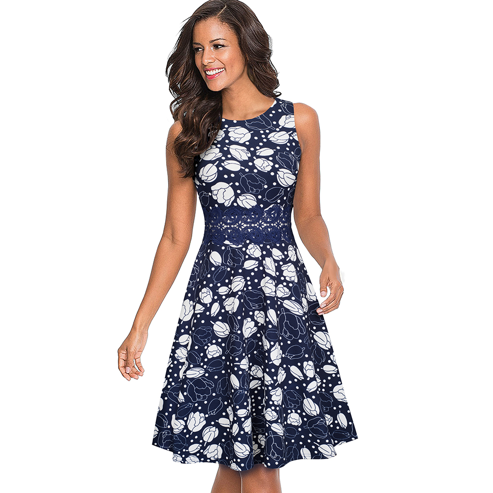 Nice-forever Vintage Elegant Embroidery Floral Lace Patchwork vestidos A-Line Pinup Business Women Party Flare Swing Dress A079 102