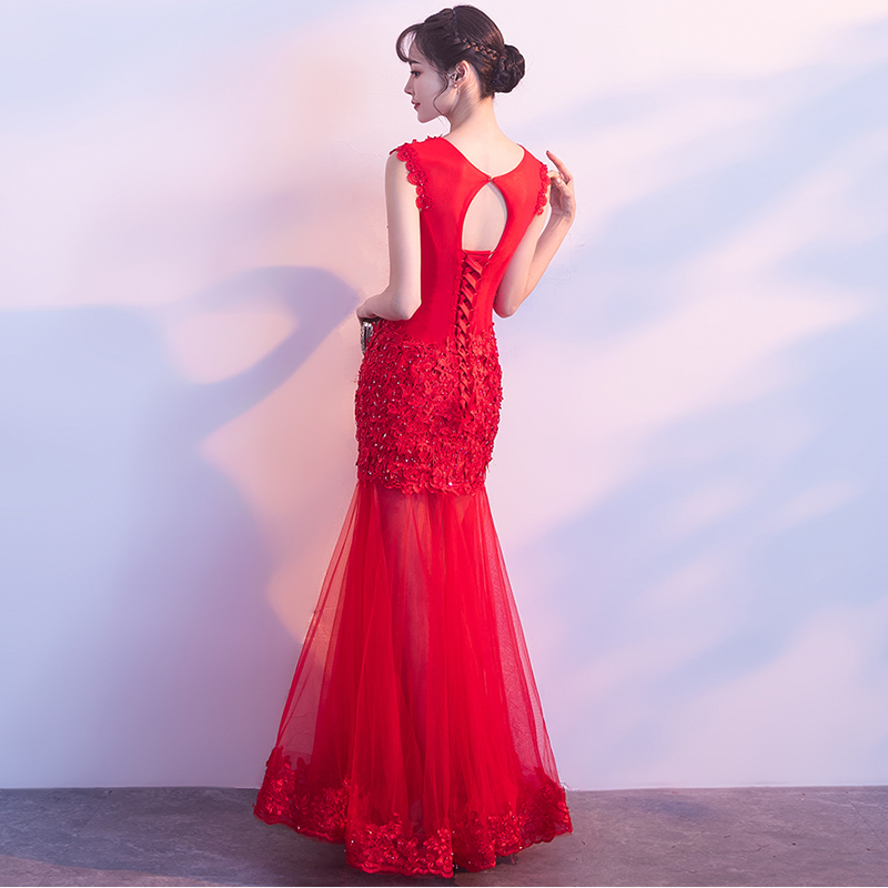f7cf16eabaa Red Mermaid Dress Chinese Modern Qipao Long Party Dresses Sexy Oriental Cheongsam  Wedding Traditional Lace Hollow Vestidos Robe -in Cheongsams from Novelty  ...