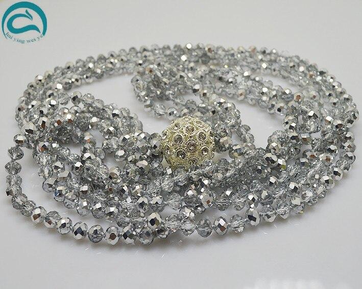 Perles uniques bijouterie 100 cm Long cristal perles collier couleur grise 3 rangées cristal strass collier parfait femmes cadeau