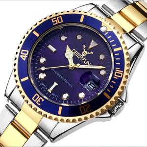 DEERFUN Gold Watch Men GMT Rotatable Bezel Sapphire Glass Stainless steel Band Sport Quartz WristWatch reloj relogio 40MM(China)