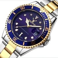 DEERFUN, reloj de oro para hombre, GMT, bisel giratorio de zafiro, banda de acero inoxidable, reloj de pulsera deportivo de cuarzo, reloj de 40MM