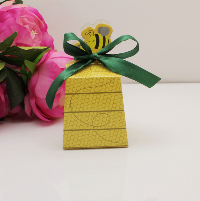 100 Pcs Creative Yellow Bee Style Baby Shower Birthday Party Candy Box Wedding Favors Gift