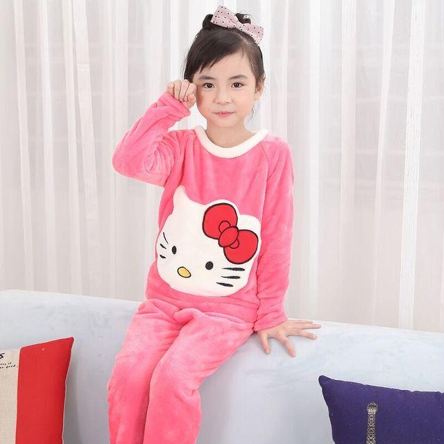 5733aad6 Bebé niños invierno Pijamas franela establece niños chica caliente chaqueta  de lana gruesa + Pantalones niños