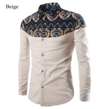 Hot Sale Fashion Printing Pattern Linen Casual Turn-Down Collar Slim Camisa Masculina 3 colors size M-3XL