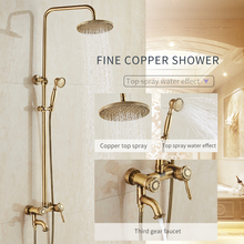 цена на JIKU Brass Antique Wall Mount Shower Set Faucet Double Handle with Handshower + Shelf Bathroom Shower Mixer Tap