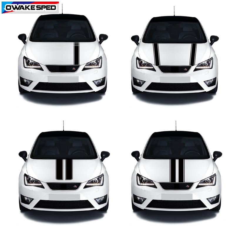 Racing Sport Stripes Car Hood Vinyl Decal Automobile Engine Cover Body Decor Sticker For Seat Leon Mii Ibiza FR TGI ST Cupra