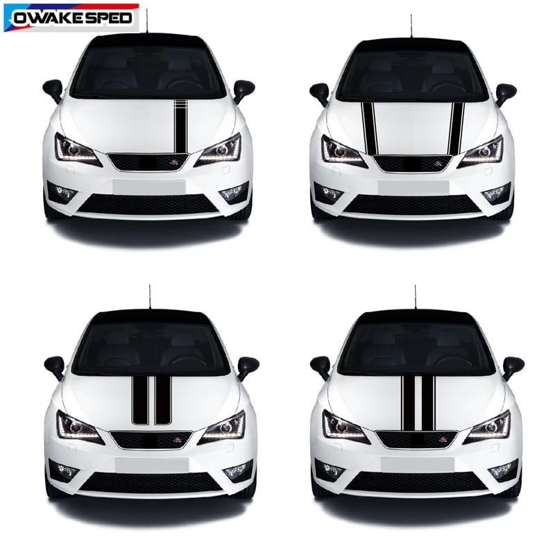 Racing Sport Stripes Car Hood Vinyl Decal Automobile Engine Cover Body Decor Sticker For Seat Leon Mii Ibiza FR TGI ST Cupra|Car Stickers| |  - title=