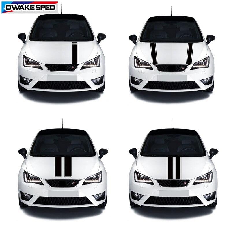 Sport de course rayures voiture capot vinyle décalcomanie Automobile moteur couverture carrosserie décor autocollant pour siège Leon Mii Ibiza FR TGI ST Cupra