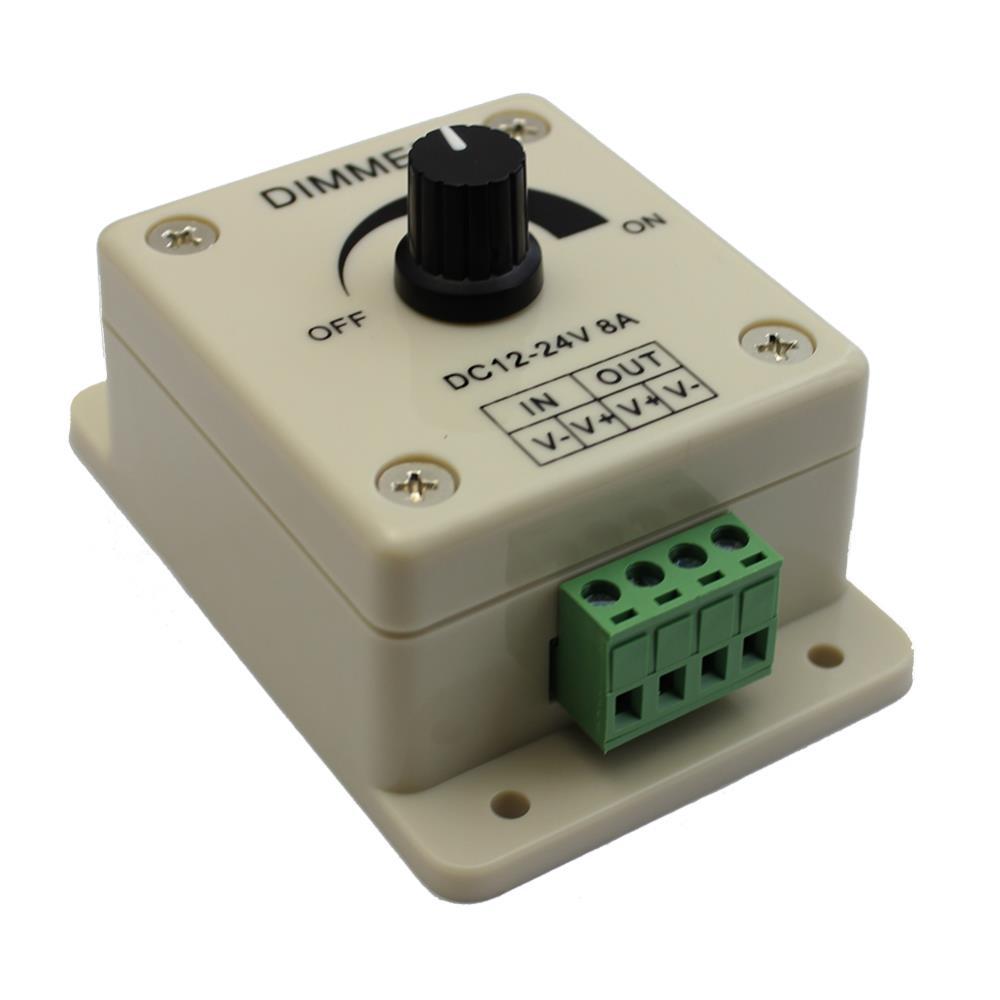 12V 24V DC 8A Balck Single Color LED Dimmer Switch Brightness Controller for led
