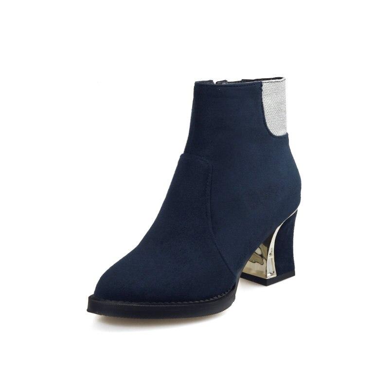 Rond Aiweiyi Black Chaussures Plate Troupeau Pompe Pour Peau Zip Bout blue Talons red Bottes Cheville Courts Hauts forme Carré Talon Femmes Femme TH0qHxwrC