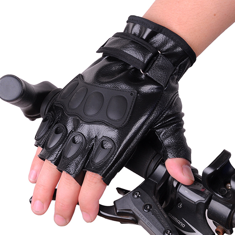 Man Women Cycling Leather Fingerless Gloves Rubber Protective Soft Outdoor Half Finger Gloves Elastic Thin Summer Gloves