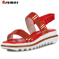 Asumer Women Shoes Sandals In Summer Platform Wedges Shoes Fashion Comfortable 3 Colors Open Toed Big