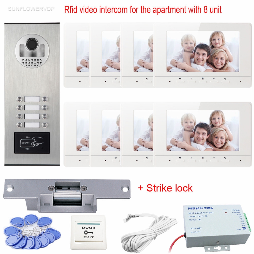 Rfid Access Control 7 inch Video Door Phone Door Video System With Electronic Door Lock For 8 Apartments Night Vision Full Kit 12 apartments placa de video door phone intercom rfid door access control system with 7 inch lcd display