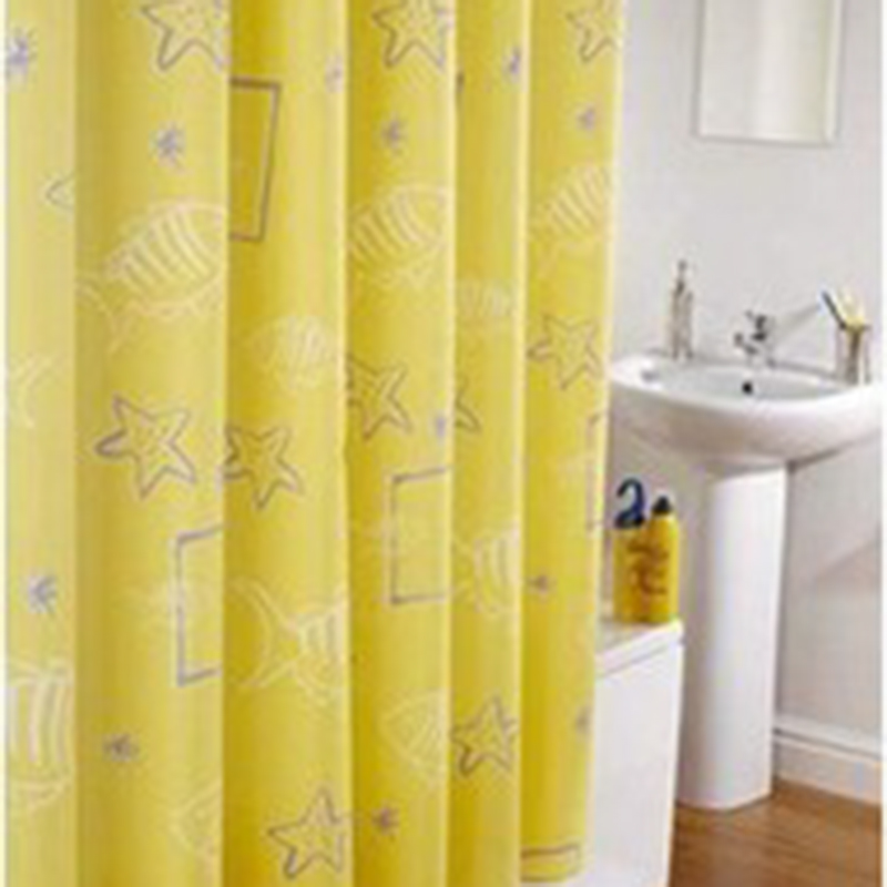 180 180cm Yellow Sea Stars Shower Curtains Design Water Resistance Fabric Polyester Waterproof Home Bathroom