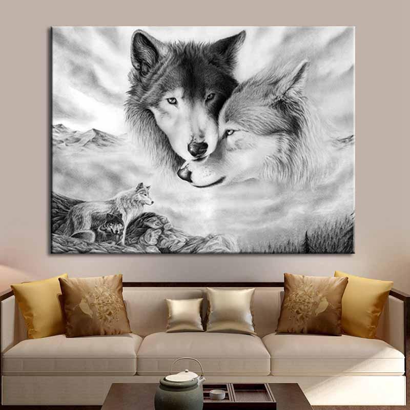 Black and white wolf animal diamond painting full square diamond 5D diamond embroidery cartoon diamond painting cross stitch