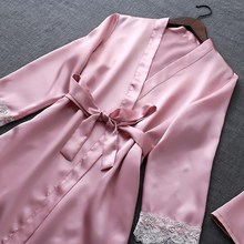 Autumn Silk 4 Pieces Pijamas Spring Women Pajamas Sets Satin Sleepwear Elegant Lace Nightwear Sexy Sleep Lounge