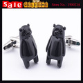 Silver Plated Black Cute Enamel 3D Bear Cufflink for Man Novelty Brass Animal Paint Wedding Party Business Shirt Cuff Link Gift