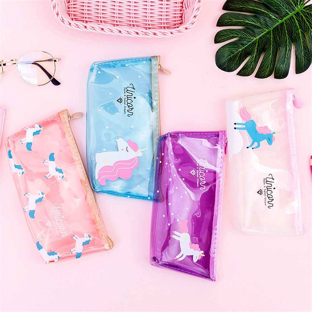 New Cute Unicorn Pencil Case Transparent Pencil Bag Soft PVC Pen Box Stationery Pen Pouch Kid Gift Office School Supplies