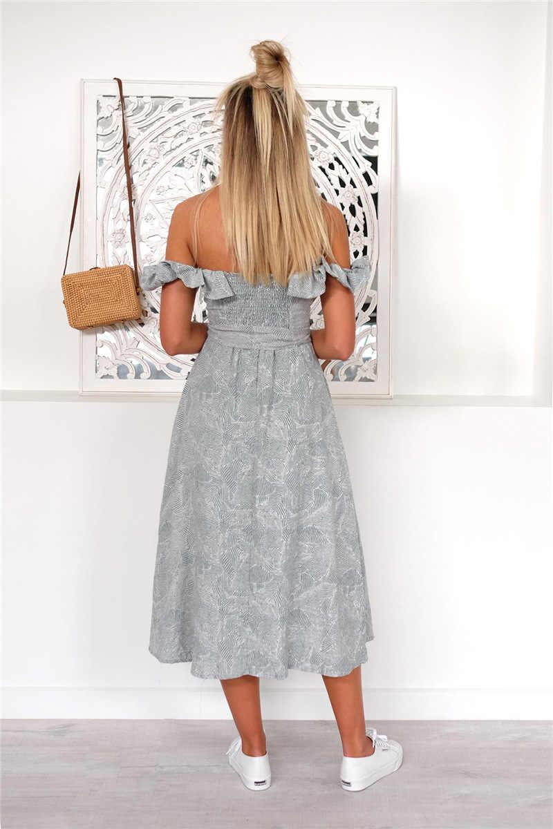 Женское сексуальное Повседневное платье с вырезом лодочкой и открытой спиной, с карманами, оборками, пуговицами, галстуком-бабочкой, летние платья средней длины