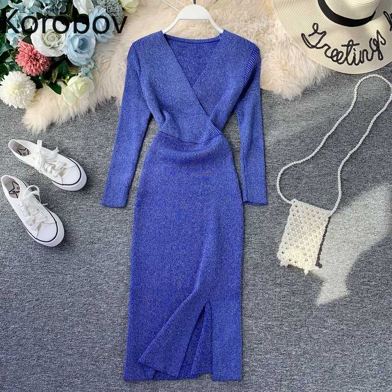 Korobov Autumn Winter New Basic Long Lurex Sweater Korean Slim Elastic V Neck Split Dress Sweaters Full Sleeve Knit Tops 78691