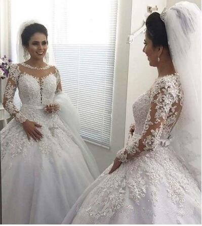 Vestido de Noiva Ball Gown Princess Wedding Dresses Long Sleeve Beaded Lace Appliques Wedding Gowns Court Train Mariage