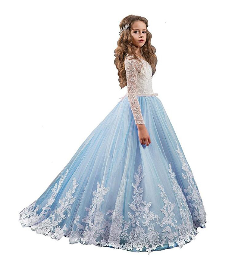 все цены на Lace Mother Daughter Dresses For Girls A-Line Flower Girls' Halter Applique Beads Pageant Dress Long Sleeve Kids Prom Dress