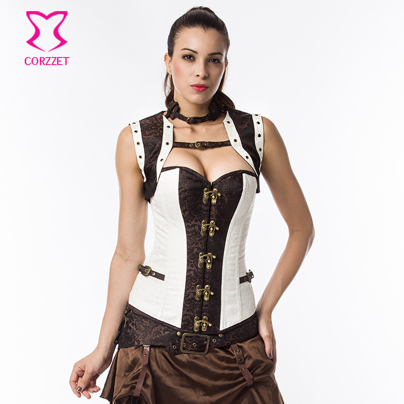 0f57577e43 White Brown Steampunk Steel Boned Corset Overbust Plus Size Gothic Clothing  Corsets And Bustiers Vintage Sexy Burlesque Costumes-in Bustiers   Corsets  from ...