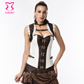 White/Brown Steampunk Steel Boned Corset Overbust Plus Size Gothic Clothing Corsets And Bustiers Vintage Sexy Burlesque Costumes