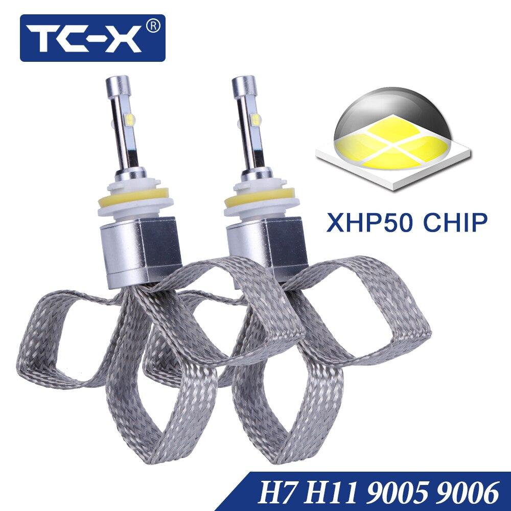 TC-X 10000LM XHP50 Chip di Auto Luce H7 LED H11 H8 ptf Luce 9005 HB3 9006 HB4 6000 k Bianco Puro super Bright Sostituire Lente Del Faro