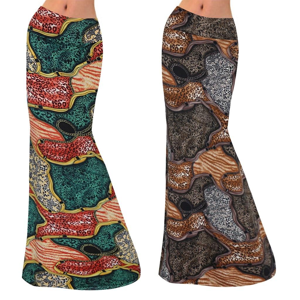 Women's High Waist Geometric Stitching Print Bodycon Long Maxi Skirt Skirt Women Cute Sweet Girls Dance Skirt Юбка Skirt