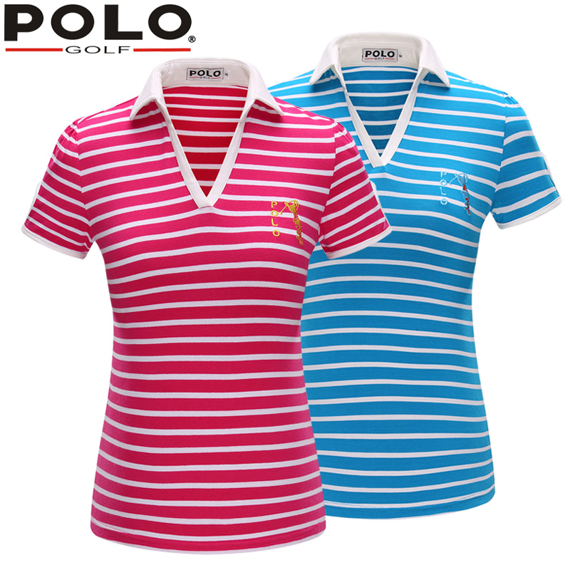Brand POLO Golf V Short Sleeve Shirt Stripe Golf Sportswear Outdoor Lady Golf Apparel Summer Clothing Quick Dry New Tshirt