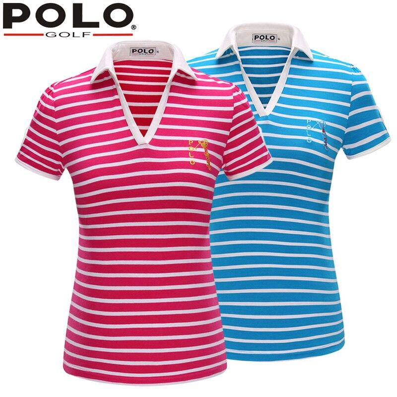 Brand font b POLO b font Golf V Short Sleeve Shirt Stripe Golf Sportswear Outdoor Lady