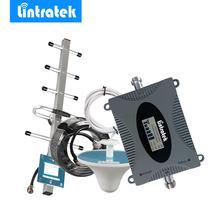 Lintratek gsm 900 mhz celular amplificador repetidor de reforço de sinal display lcd mini tamanho telefone celular gsm impulsionador conjunto yagi antena @