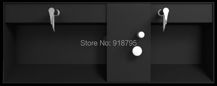 BATHROOM CORAIN DOUBLE VANITY COUNTER TOP SINK COMPOSITE STONE BLACK SOLID SURFACE WASHASIN RS38333
