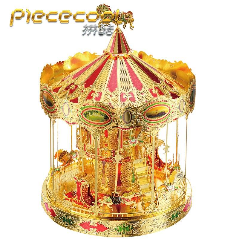 Piececool Merry-Go-Round 3D Laser Cutting DIY Metallic Puzzle Merry Go Round 3D Metal Puzzle Educational Diy Jigsaws Lover Gifts go 1704a p3 38mm flywheel metallic orange  large sge 0056 01