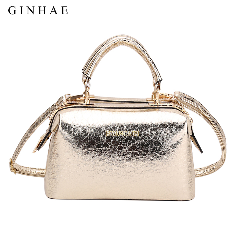 2019 New Arrival Glossy Women Boston Bag Golden Color High Quality Split Leather Tote Handbags Ladies Shoulder Crossbody Bags