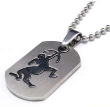 NEW Zodiac Amulet 12 Constellations Stainless Steel Pendant Necklace