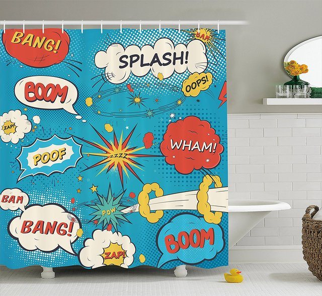 Superhero Shower Curtain Pop Art Style Comic Speech Bubbles Funny Humor Expressions Boom Splash Bang Decor Set With Hooks
