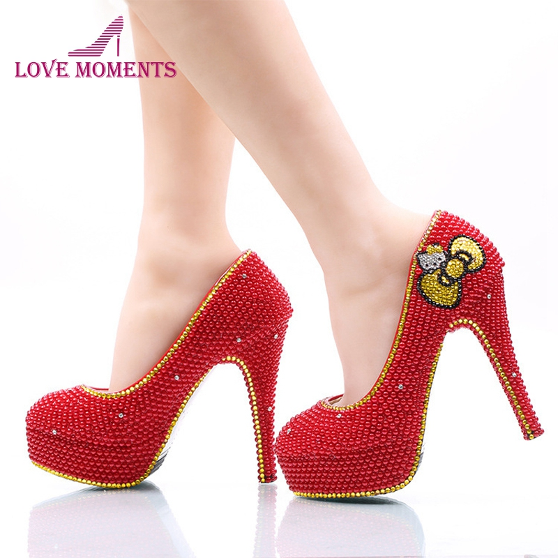 Red Pearl Wedding Shoes with Gold Rhinestone Hello Kitty Bridal Dress Shoes Wedding Party High Heels Banquet Prom Pumps