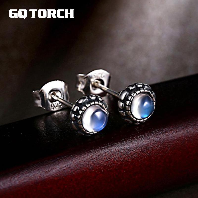 GQTORCH Einfache Natürliche Mondstein Ohrringe Nieten Blau Mondlicht Echt 925 Sterling Silber Hohe Qualität Schmuck Für Frauen