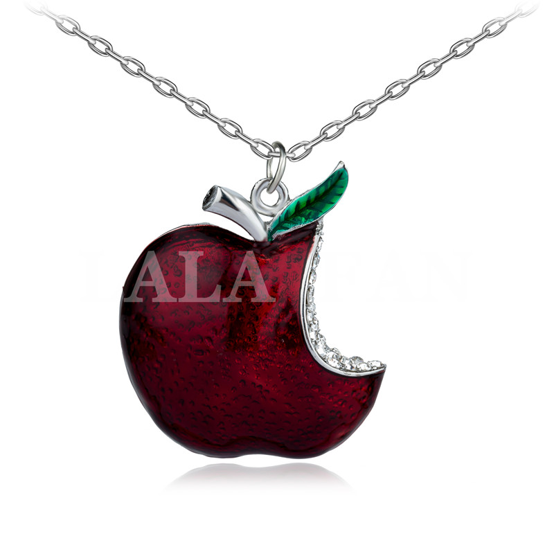 Once Upon A Time Snow White  Regina Crystal Red Poison Apple Pendant Necklace Fashion XL562