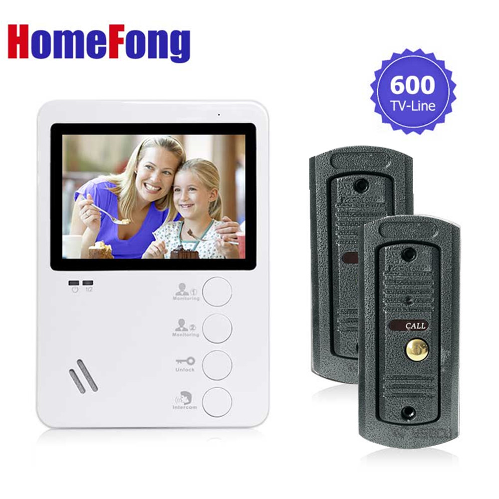 Homefong 4.3 Video Door Intercom Doorphone with camera security system doorbell 2 to 1 videocitofono system Home security jeantone 4 inch video doorphone doorbell intercom 1 front door camera with 3 indoor monitors pictures and video recording