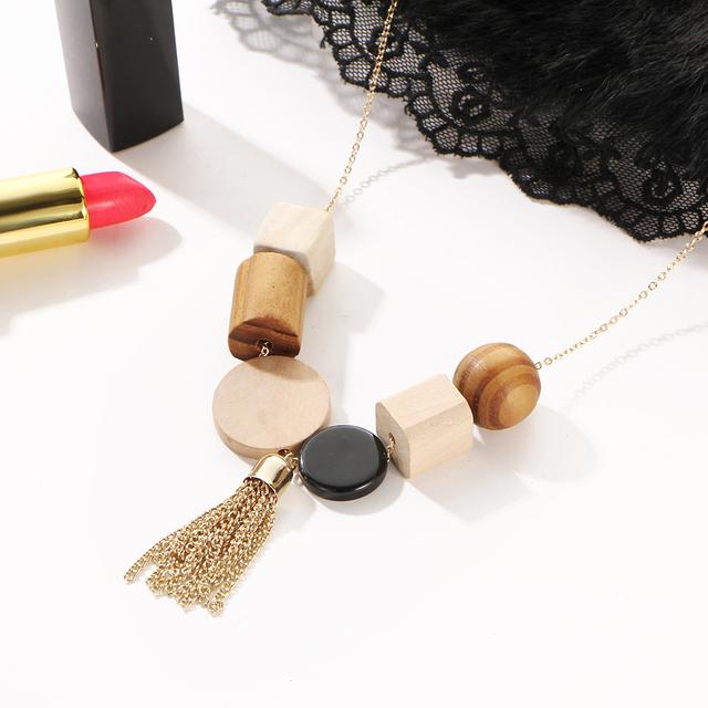 17KM Fashion Minimalist Geometric Ethnic Tassel Statement Choker Necklace Women Rope Black White Wood Beads Brand Maxi Jewelry
