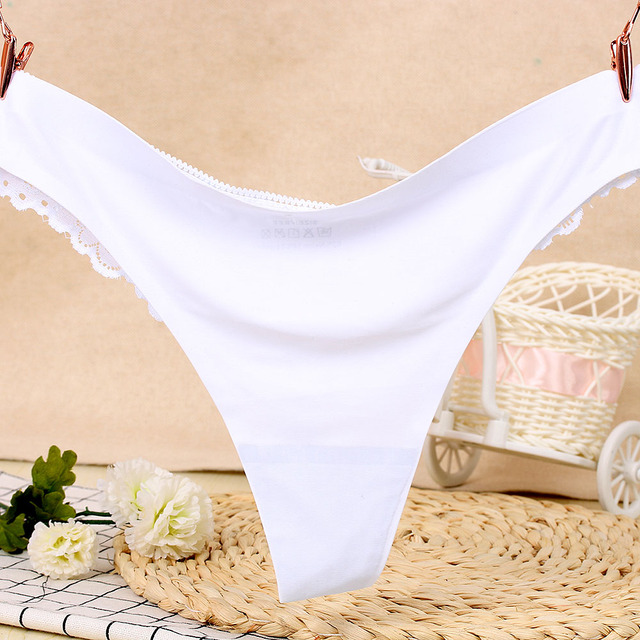 1PC Sexy Women G-string Thongs Lace Floral Sheer Low Waist Underwear Soft Lingerie Ice Silk Briefs Seamless Panties 2