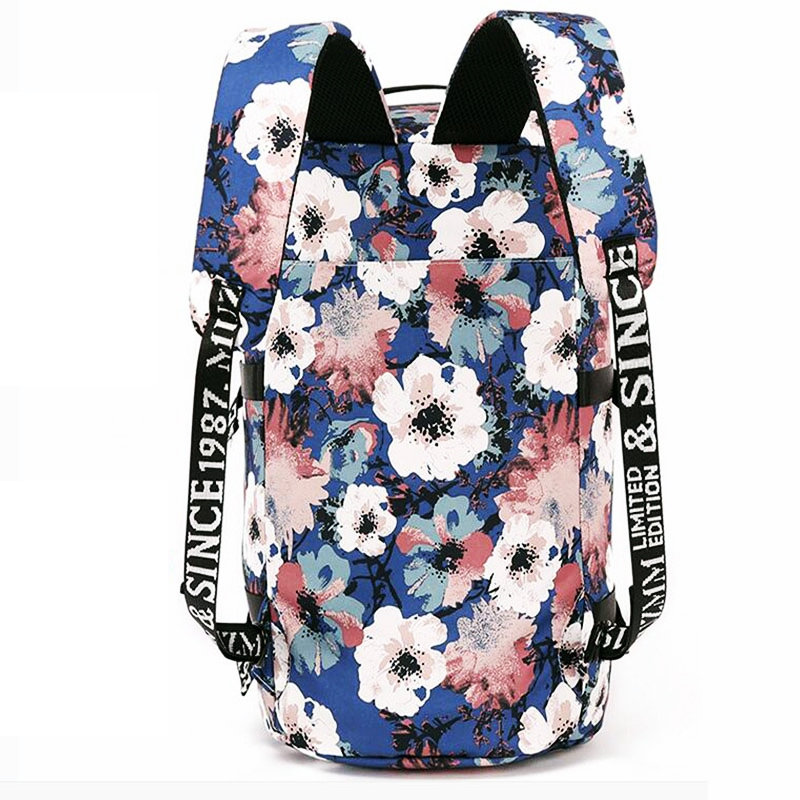 76a9a7e1aaa Women Canvas Gym Sport Backpack Teenage Girls Flowers Printing College Daily  Double Shoulder Bag Outdoor Travel Stroge Handbags-in Gym Bags from Sports  ...