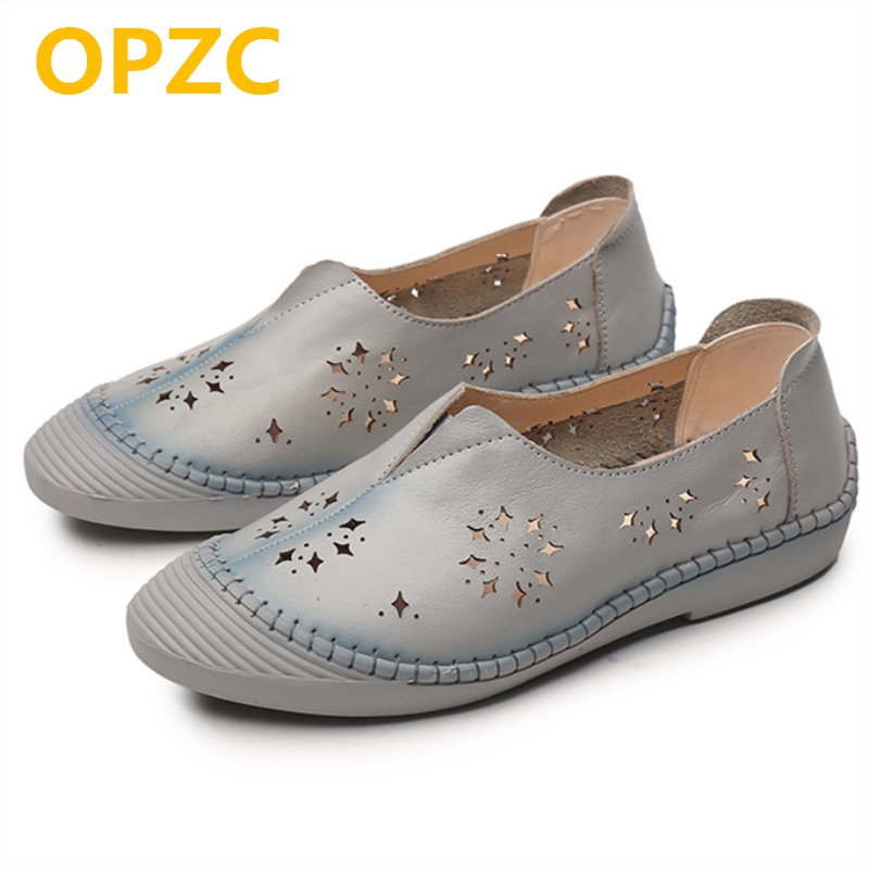 OPZC 2018 new casual flat shoes female 100% natural genuine leather hole soft bottom portable hollow non-slip shoes female new female 100