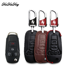 KUKAKEY Leather Car Key Case Bag For Ford Focus Fiesta Transit Ecosport Kuga Remote  Cover Styling Accessories