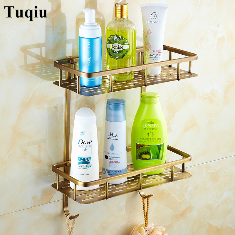 Bathroom Shelves copper dual Tiers Corner Shelf Shower Caddy Storage Shampoo Basket Wall Kitchen Corner Sticky Holder double celebration of finishing the cracks movable side refrigerator kitchen corner shelf plastic three shelves 1064