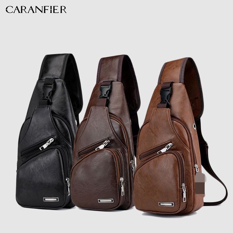 CARANFIER Mens Chest Bags Shoulder Messenger Bags PU Leather Casual Zipper Soft Male Classic Solid Color Travel Crossbody Bag