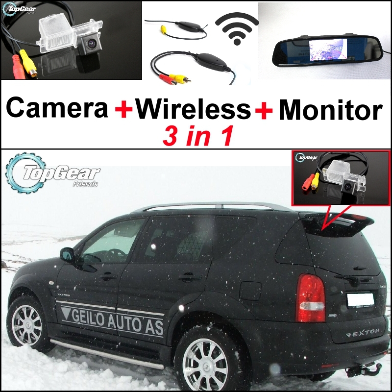 ФОТО 3 in1 Special Rear View Camera + Wireless Receiver + Mirror Monitor Easy DIY Parking System For SsangYong Rexton Y300
